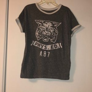 Grey and white cropped tee from Aeropostale